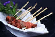 Rare Fillet of Beef Skewers with a Creme Fraiche and Horseradish Dip