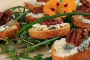 Crostini with Stilton and Honey Roast Pecans