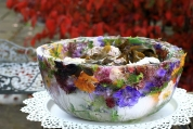 West of Ireland Oysters served in Home-made Flower-filled Ice Bowls
